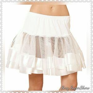 🆕Satin Trim Petticoat/Costume/Skirt/Dress /White